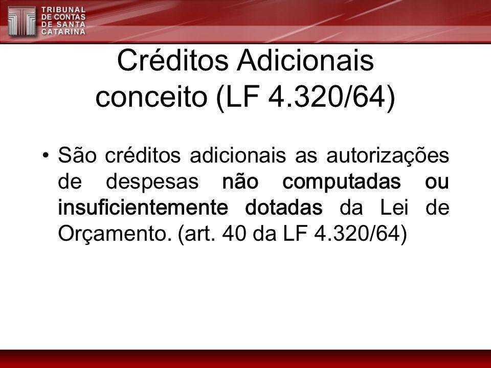 Créditos Adicionais conceito (LF 4.320/64) São créditos adicionais as autorizações de despesas não computadas ou insuficientemente dotadas da Lei de O