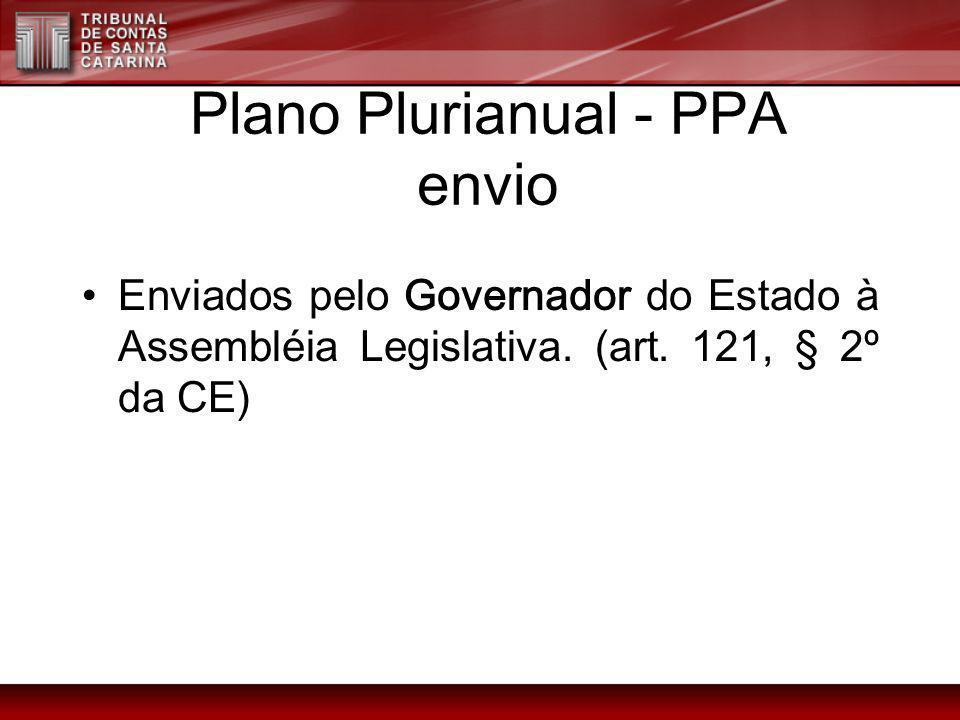 Plano Plurianual - PPA envio Enviados pelo Governador do Estado à Assembléia Legislativa. (art. 121, § 2º da CE)