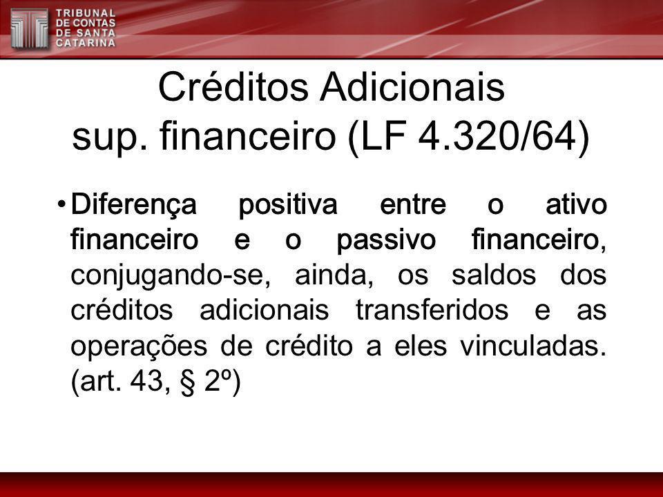 Créditos Adicionais sup. financeiro (LF 4.320/64) Diferença positiva entre o ativo financeiro e o passivo financeiro, conjugando-se, ainda, os saldos