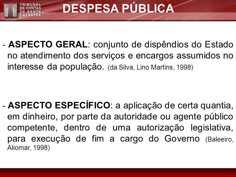 DESPESA PÚBLICA - ASPECTO GERAL: conjunto de dispêndios do Estado no atendimento dos serviços e encargos assumidos no interesse da população. (da Silv