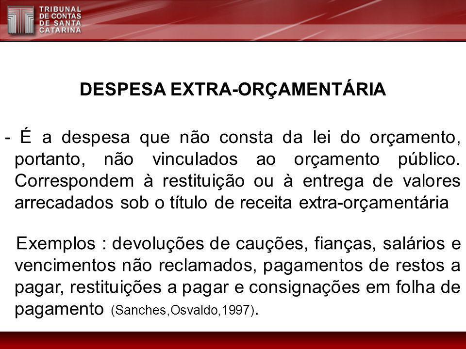 DESPESA EXTRA-ORÇAMENTÁRIA - É a despesa que não consta da lei do orçamento, portanto, não vinculados ao orçamento público. Correspondem à restituição