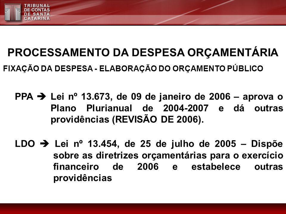 PROCESSAMENTO DA DESPESA ORÇAMENTÁRIA FIXAÇÃO DA DESPESA - ELABORAÇÃO DO ORÇAMENTO PÚBLICO PPA Lei nº 13.673, de 09 de janeiro de 2006 – aprova o Plan