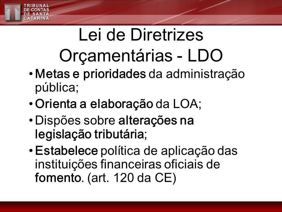 Lei de Diretrizes Orçamentárias - LDO Metas e prioridades da administração pública; Orienta a elaboração da LOA; Dispões sobre alterações na legislaçã