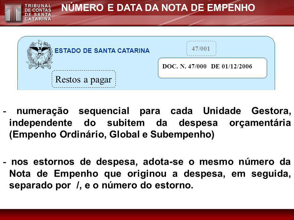 NÚMERO E DATA DA NOTA DE EMPENHO - numeração sequencial para cada Unidade Gestora, independente do subitem da despesa orçamentária (Empenho Ordinário,