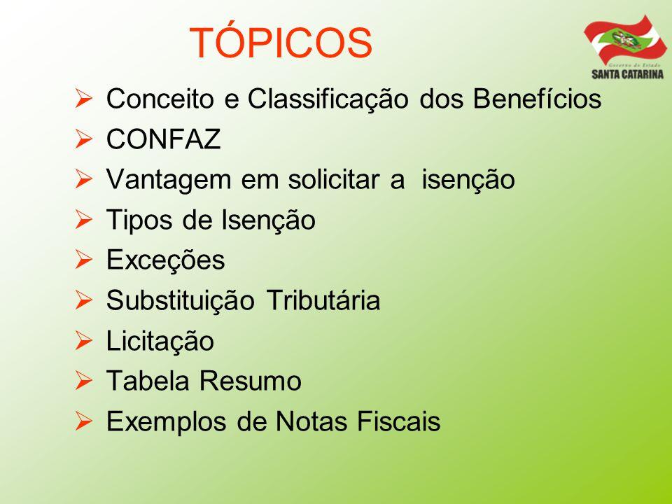 TÓPICOS Conceito e Classificação dos Benefícios CONFAZ Vantagem em solicitar a isenção Tipos de Isenção Exceções Substituição Tributária Licitação Tab
