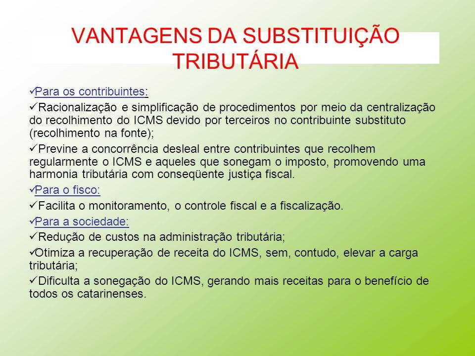 VANTAGENS DA SUBSTITUIÇÃO TRIBUTÁRIA Para os contribuintes: Racionalização e simplificação de procedimentos por meio da centralização do recolhimento