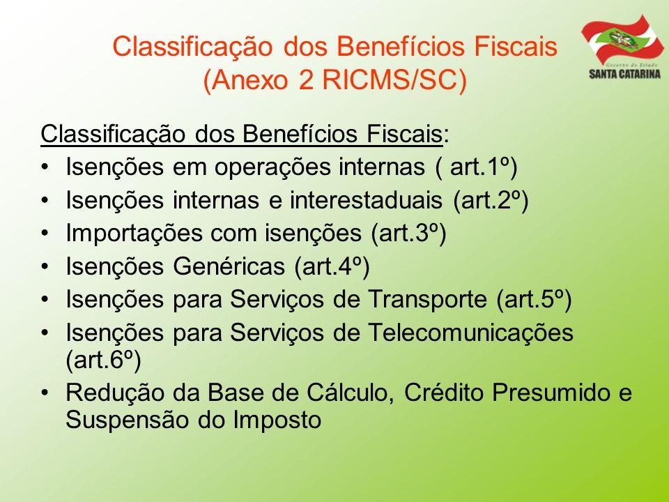 Classificação dos Benefícios Fiscais (Anexo 2 RICMS/SC) Classificação dos Benefícios Fiscais: Isenções em operações internas ( art.1º) Isenções intern