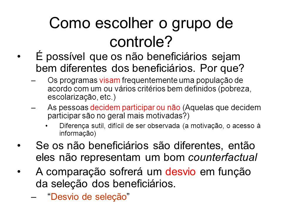 Como escolher o grupo de controle? É possível que os não beneficiários sejam bem diferentes dos beneficiários. Por que? –Os programas visam frequentem