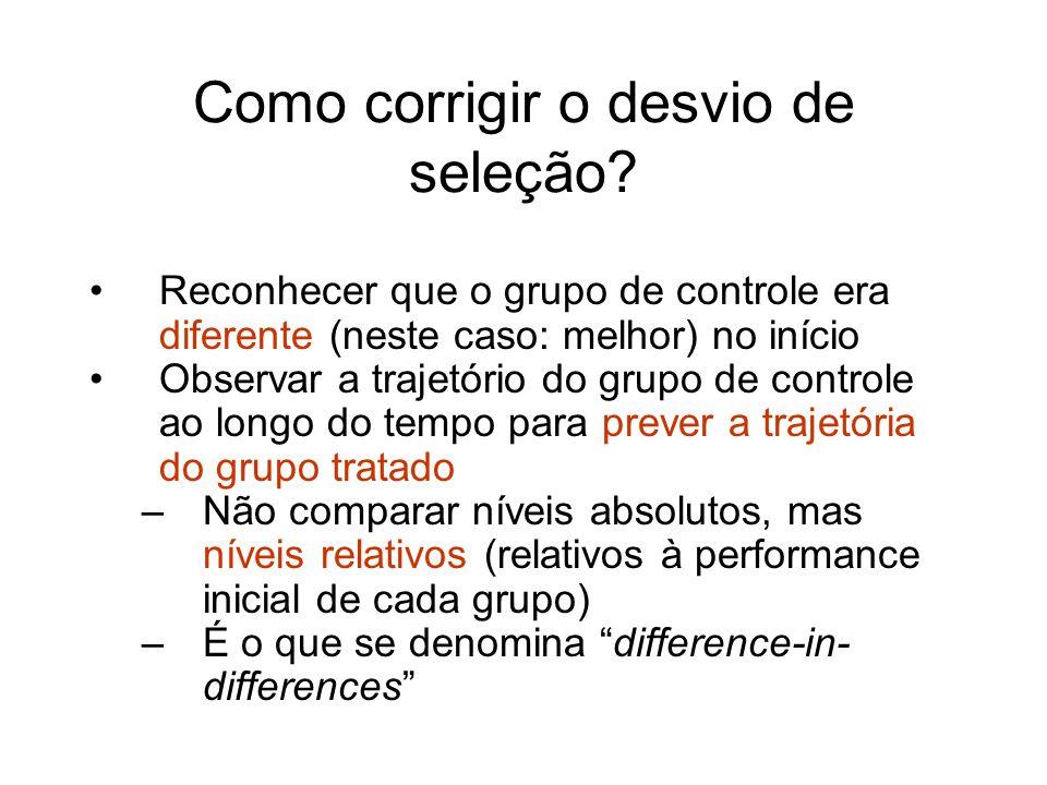 Como corrigir o desvio de seleção? Reconhecer que o grupo de controle era diferente (neste caso: melhor) no início Observar a trajetório do grupo de c
