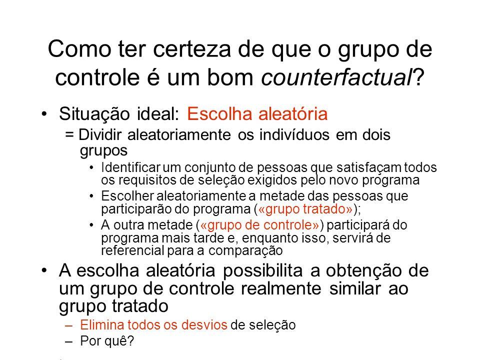Como ter certeza de que o grupo de controle é um bom counterfactual? Situação ideal: Escolha aleatória = Dividir aleatoriamente os indivíduos em dois