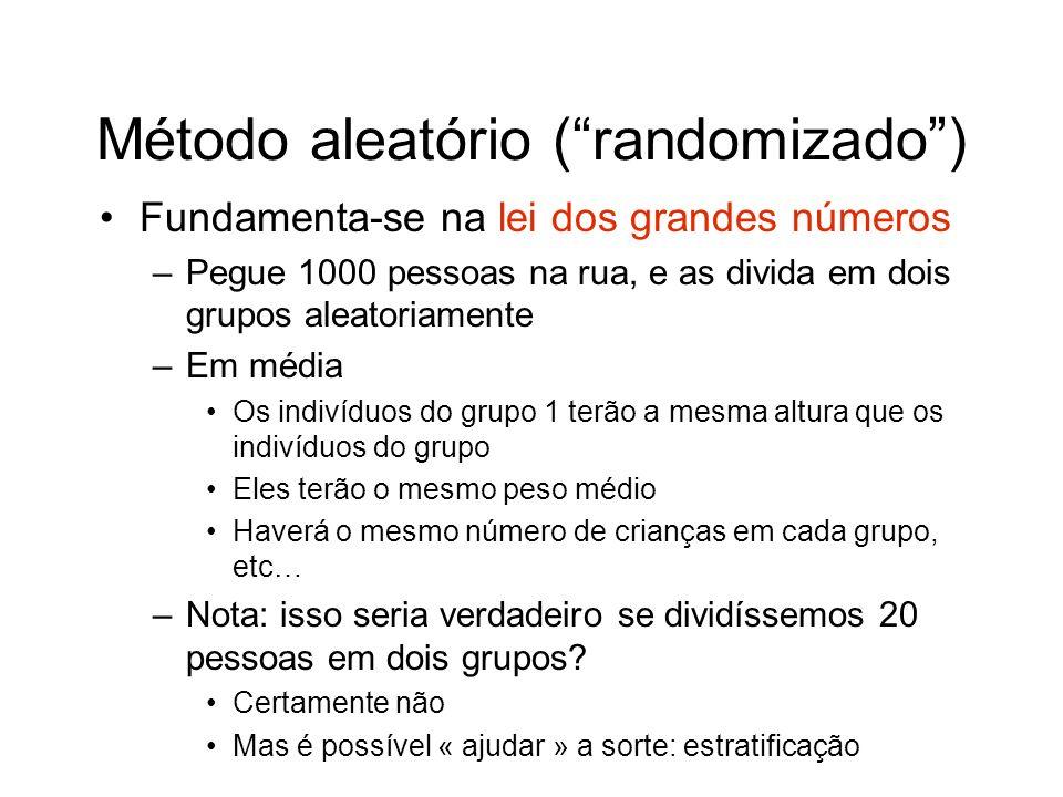 Método aleatório (randomizado) Fundamenta-se na lei dos grandes números –Pegue 1000 pessoas na rua, e as divida em dois grupos aleatoriamente –Em médi