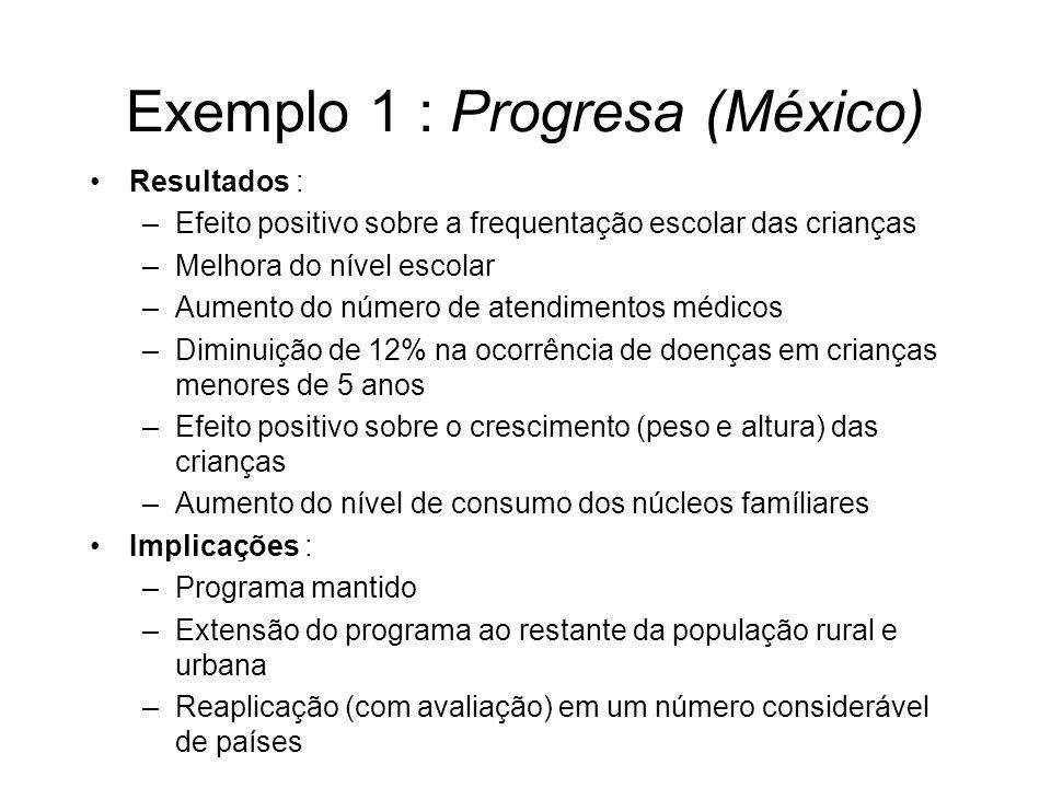 Exemplo 1 : Progresa (México) Resultados : –Efeito positivo sobre a frequentação escolar das crianças –Melhora do nível escolar –Aumento do número de