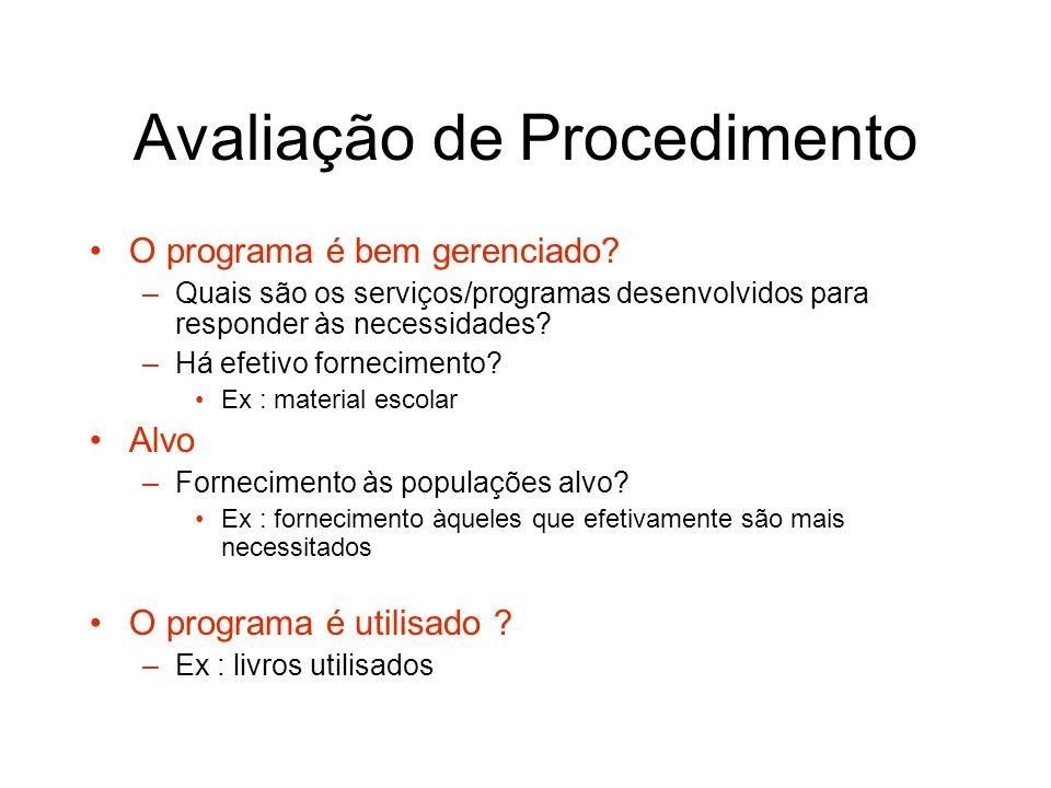 Avaliação de Procedimento O programa é bem gerenciado? –Quais são os serviços/programas desenvolvidos para responder às necessidades? –Há efetivo forn