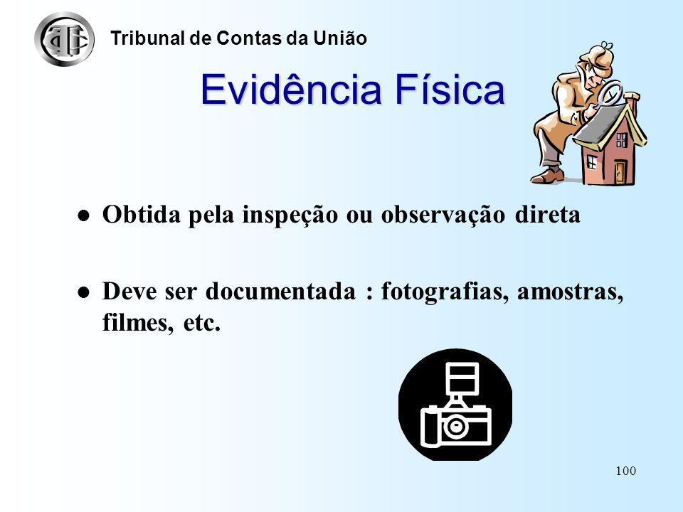 99 Classificação das Evidências Física Documental Oral (testemunhal) Analítica Corroborativa Tribunal de Contas da União