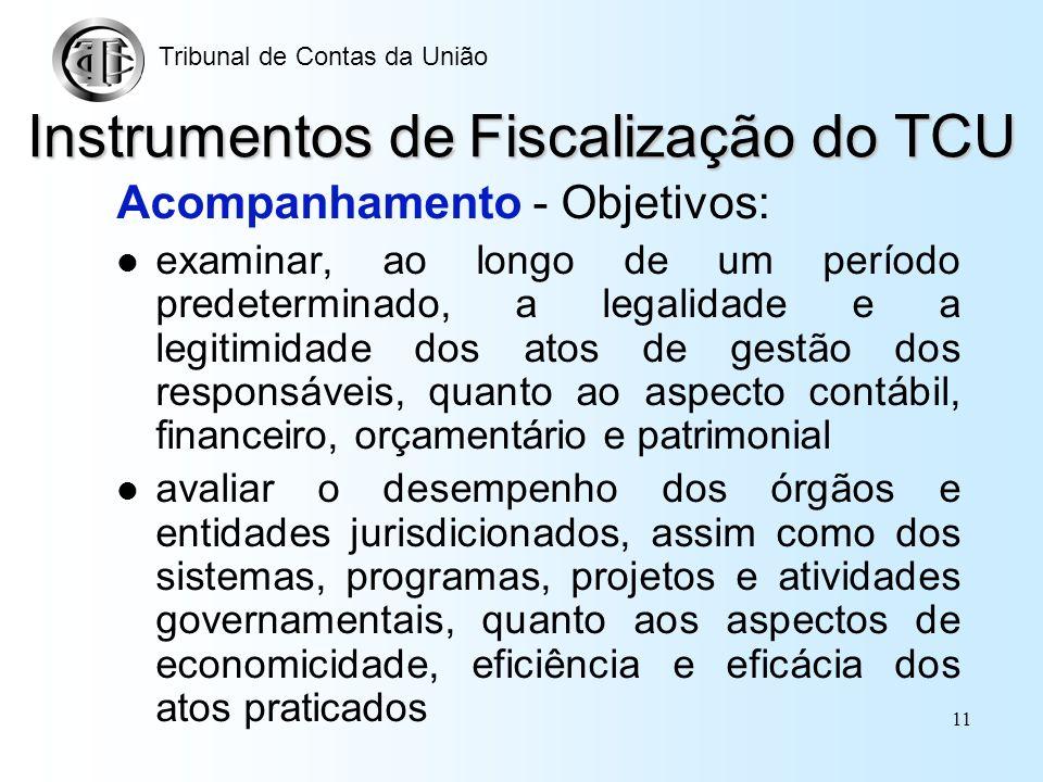 10 Instrumentos de Fiscalização do TCU Inspeção - Objetivo: suprir omissões e lacunas de informações esclarecer dúvidas ou apurar denúncias ou represe