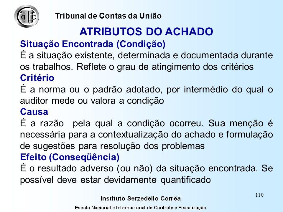 109 ACHADO DE AUDITORIA ATRIBUTOS (Glossário) Situação encontrada Critério Causa Efeito Tribunal de Contas da União