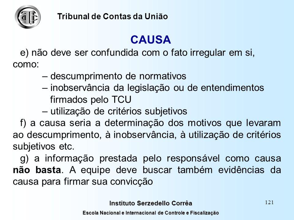 120 Instituto Serzedello Corrêa Escola Nacional e Internacional de Controle e Fiscalização Tribunal de Contas da União CAUSA Características a) não é