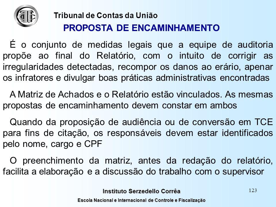 122 Instituto Serzedello Corrêa Escola Nacional e Internacional de Controle e Fiscalização Tribunal de Contas da União EFEITOS São as conseqüências pa