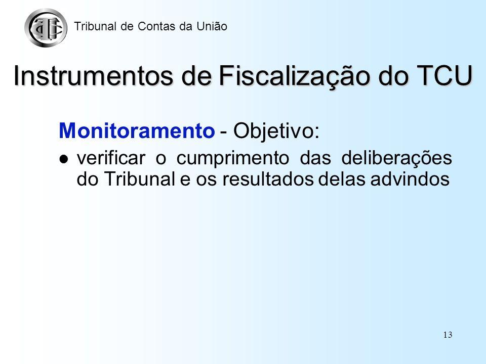12 Instrumentos de Fiscalização do TCU Acompanhamento - Meios: leis do plano plurianual, lei de diretrizes orçamentárias, da lei orçamentária anual e