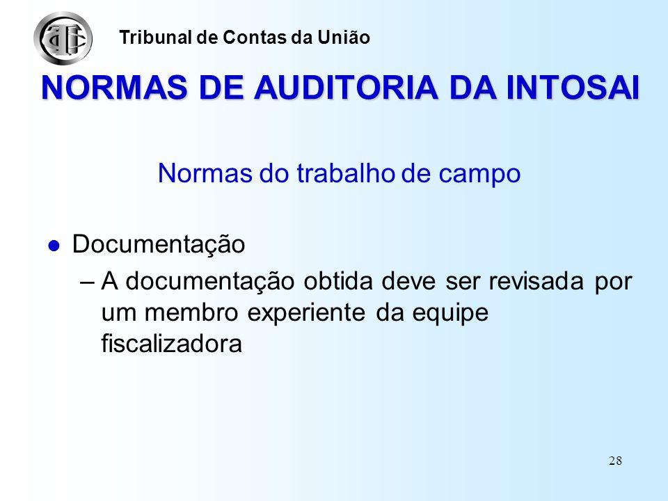 27 NORMAS DE AUDITORIA DA INTOSAI Normas do trabalho de campo Supervisão –O trabalho realizado pelo pessoal da auditoria, em cada nível e fase da fisc
