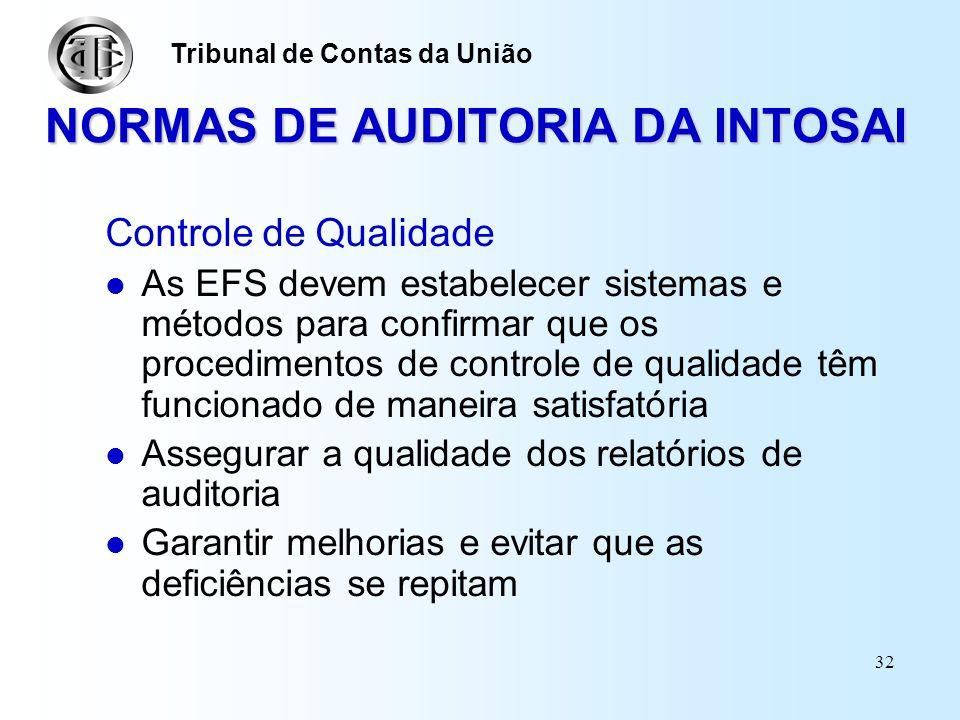 31 NORMAS DE AUDITORIA DA INTOSAI Normas para elaboração dos relatórios na Auditoria Governamental Ao final de cada auditoria o auditor deve preparar