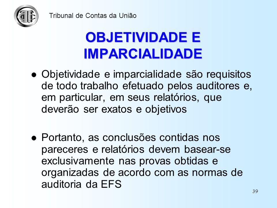38 COMPETÊNCIA PROFISSIONAL Os auditores não devem desenvolver trabalhos para os quais não possuam a competência profissional necessária Devem também