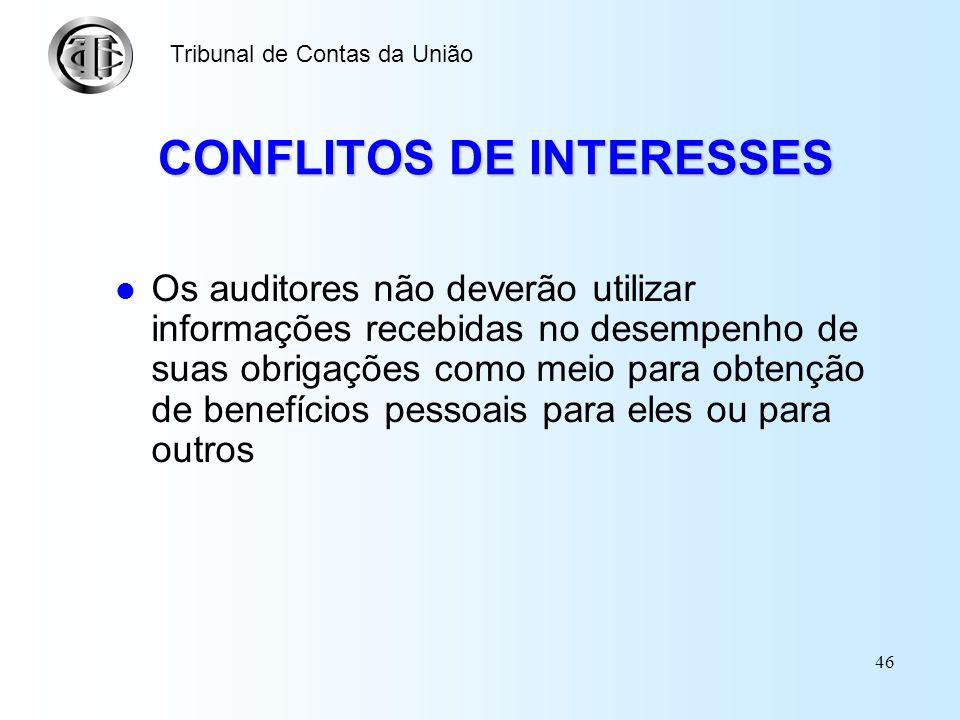 45 CONFLITOS DE INTERESSES Os auditores deverão evitar todo tipo de relação com os diretores ou funcionários da entidade fiscalizada, bem como com out