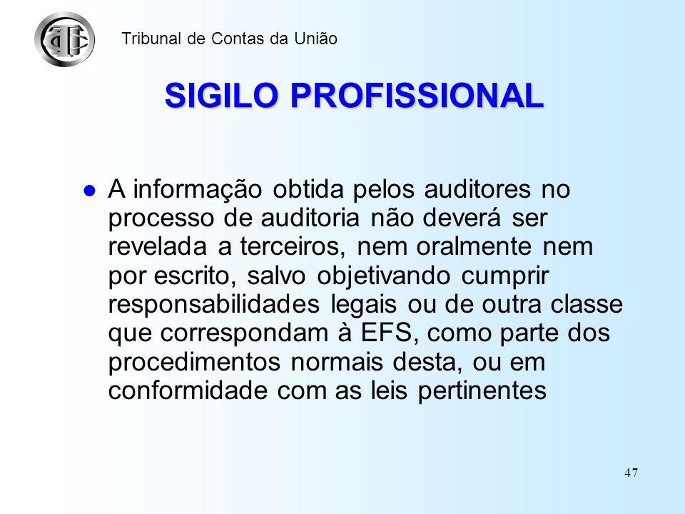 46 CONFLITOS DE INTERESSES Os auditores não deverão utilizar informações recebidas no desempenho de suas obrigações como meio para obtenção de benefíc