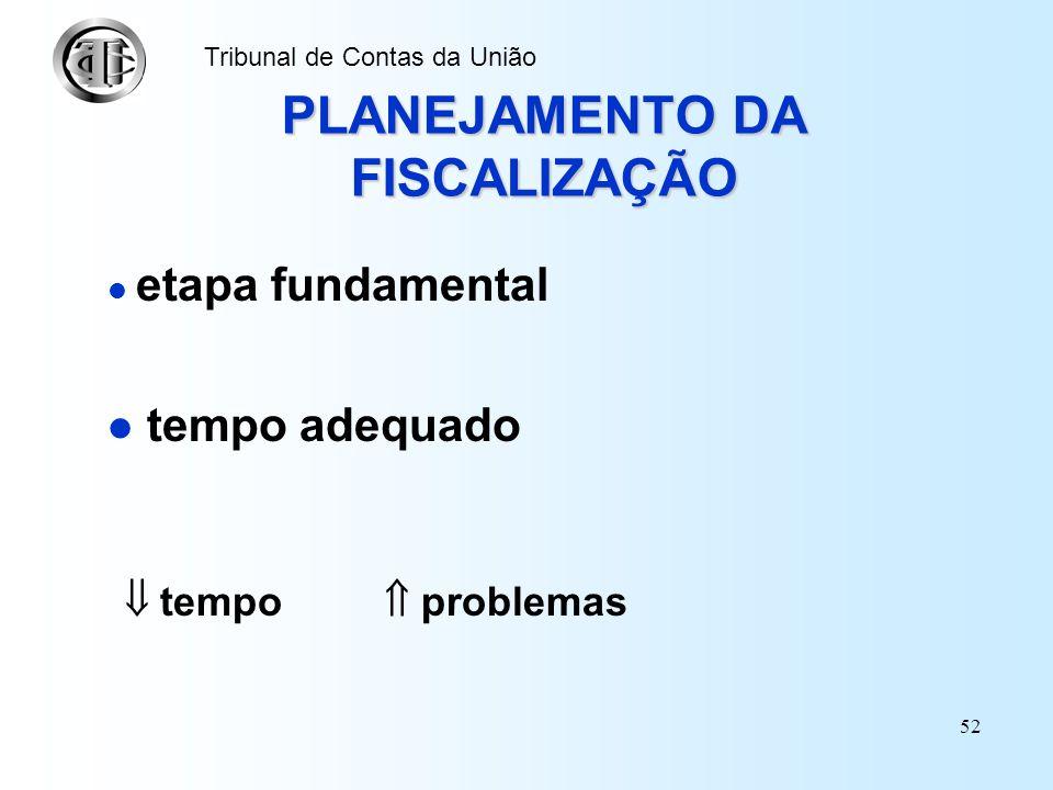 51 Tribunal de Contas da União Os 3 níveis hierárquicos do Planejamento: estratégico, tático e operacional (relações com a auditoria) Planejamento est
