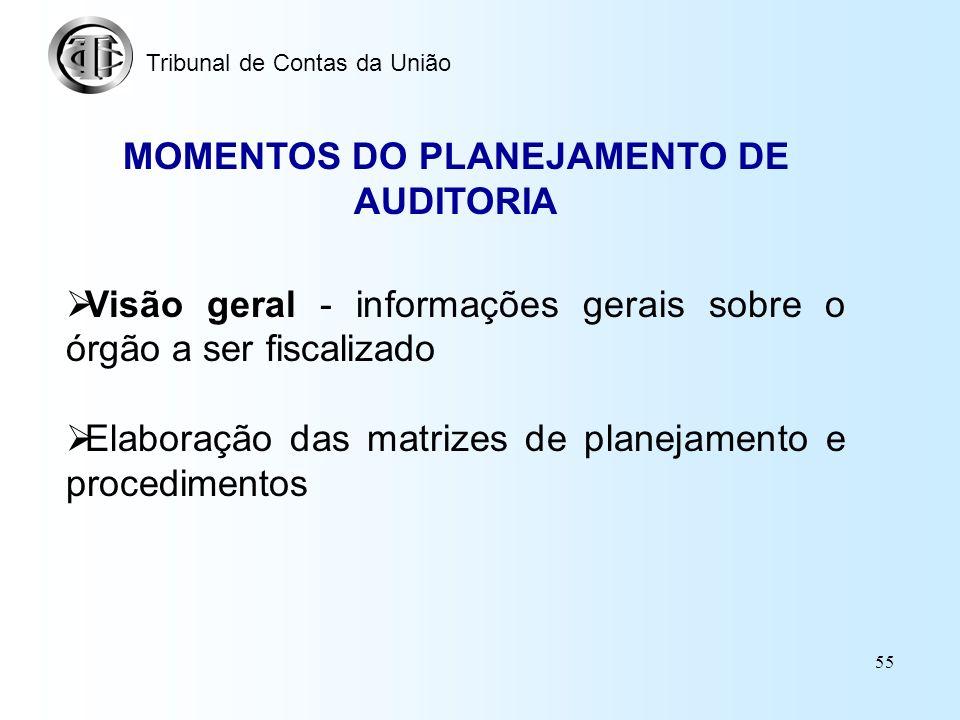 54 PADRÕES DE PLANEJAMENTO UNIDADE TÉCNICA COORDENADORA (item 9) MATRIZ DE PLANEJAMENTO E MATRIZ DE PROCEDIMENTOS (item 10) VISÃO GERAL DO OBJETO (ite