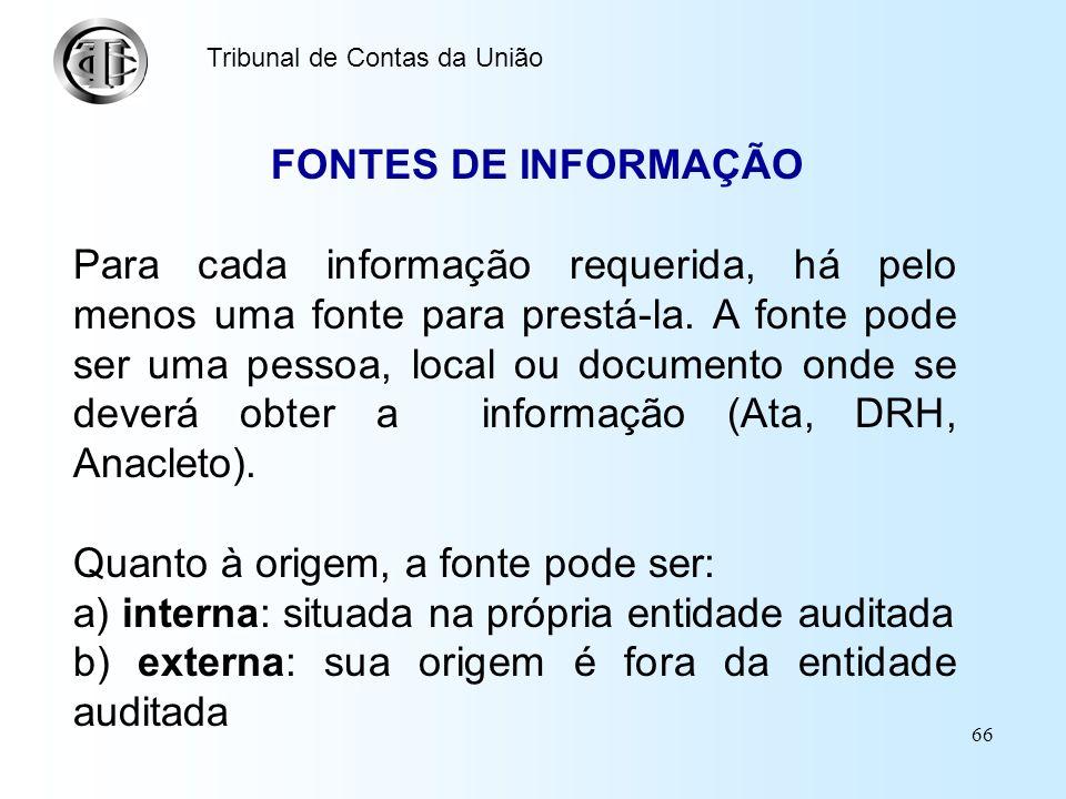 65 Tribunal de Contas da União INFORMAÇÕES REQUERIDAS Nessa coluna são especificadas as informações necessárias para responder à questão de auditoria.