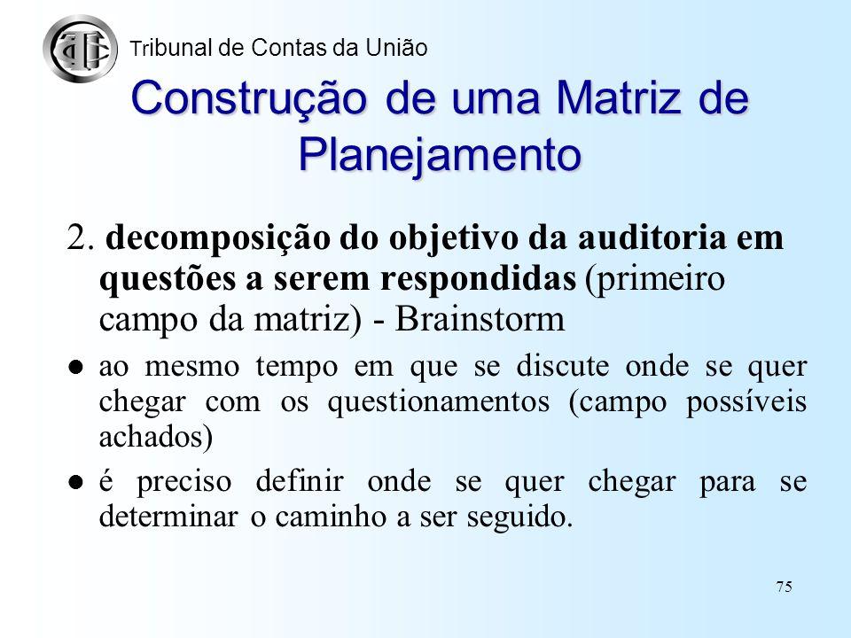 74 Construção de uma Matriz de Planejamento 1. Discussão acerca do objetivo da fiscalização –delimitação do problema que a fiscalização aborda, ou sej