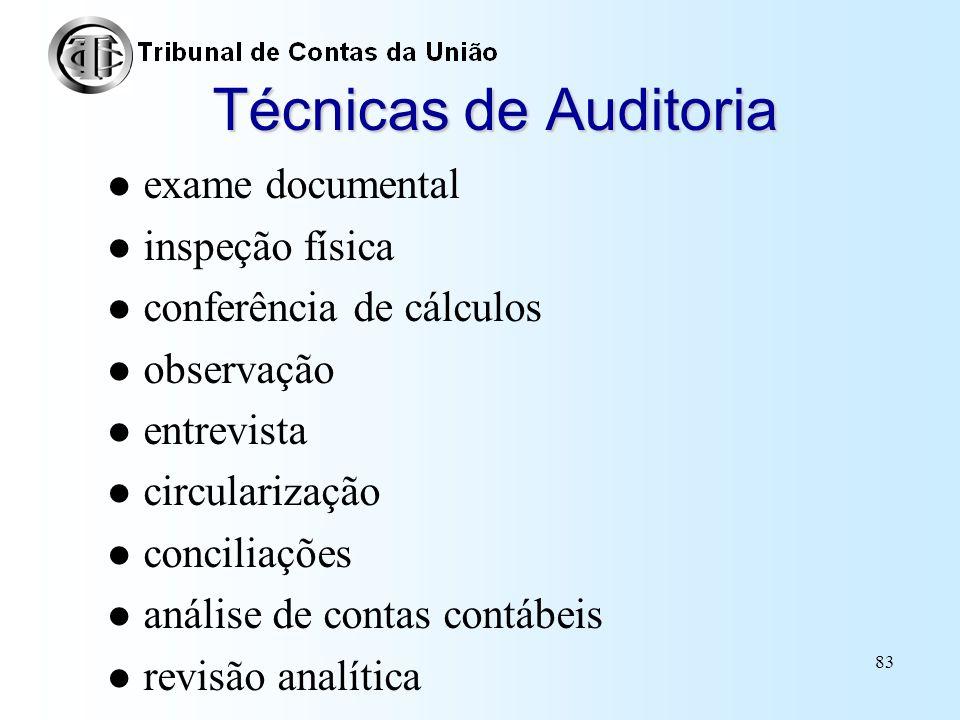 82 Técnicas de Auditoria Definição Formas ou maneiras utilizadas na aplicação dos procedimentos de auditoria com vistas à obtenção de diferentes tipos