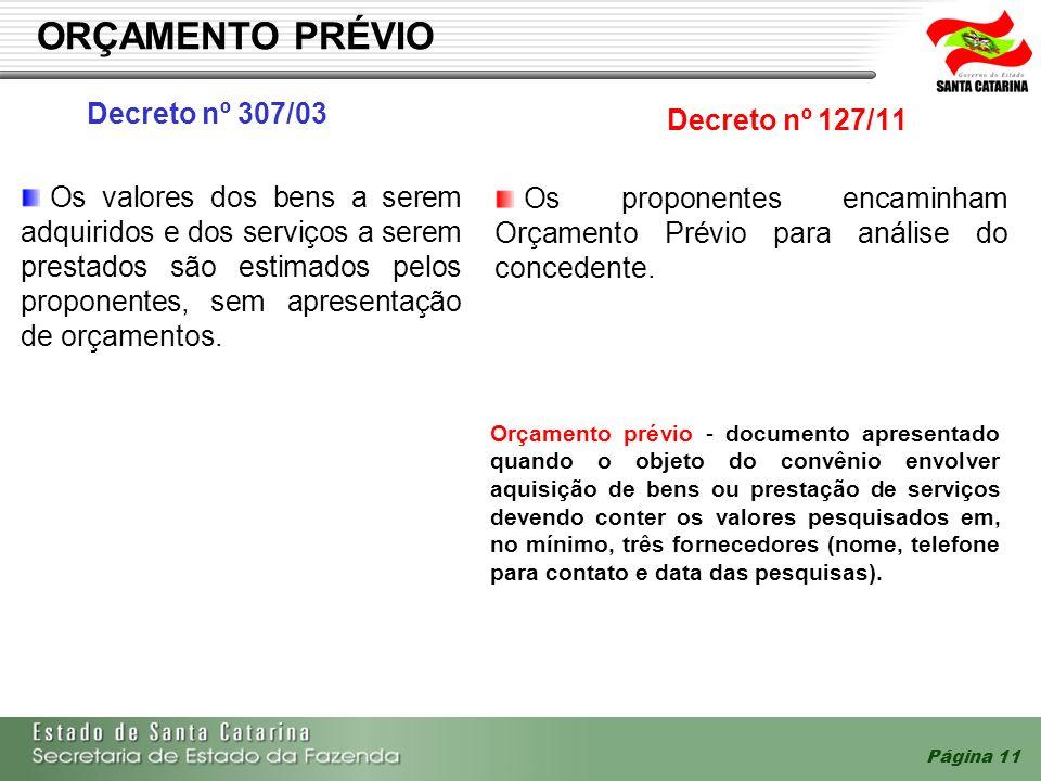 Página 11 ORÇAMENTO PRÉVIO Decreto nº 307/03 Decreto nº 127/11 Os proponentes encaminham Orçamento Prévio para análise do concedente. Os valores dos b