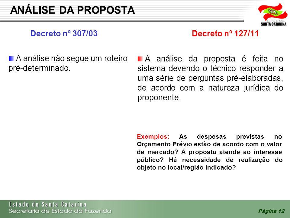 Página 12 ANÁLISE DA PROPOSTA Decreto nº 307/03 Decreto nº 127/11 A análise da proposta é feita no sistema devendo o técnico responder a uma série de