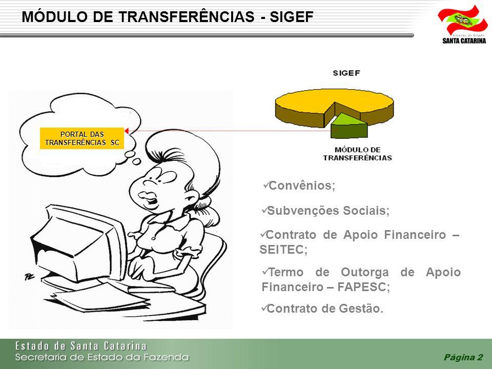 Página 2 MÓDULO DE TRANSFERÊNCIAS - SIGEF Convênios; Subvenções Sociais; Termo de Outorga de Apoio Financeiro – FAPESC; Contrato de Apoio Financeiro –