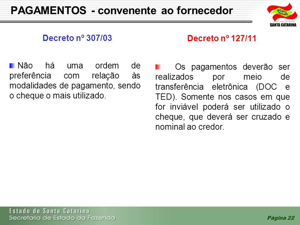 Página 22 PAGAMENTOS - convenente ao fornecedor Decreto nº 307/03 Decreto nº 127/11 Não há uma ordem de preferência com relação às modalidades de paga