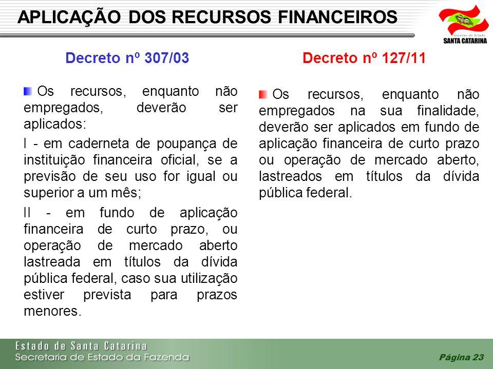 Página 23 APLICAÇÃO DOS RECURSOS FINANCEIROS Decreto nº 307/03Decreto nº 127/11 Os recursos, enquanto não empregados na sua finalidade, deverão ser ap
