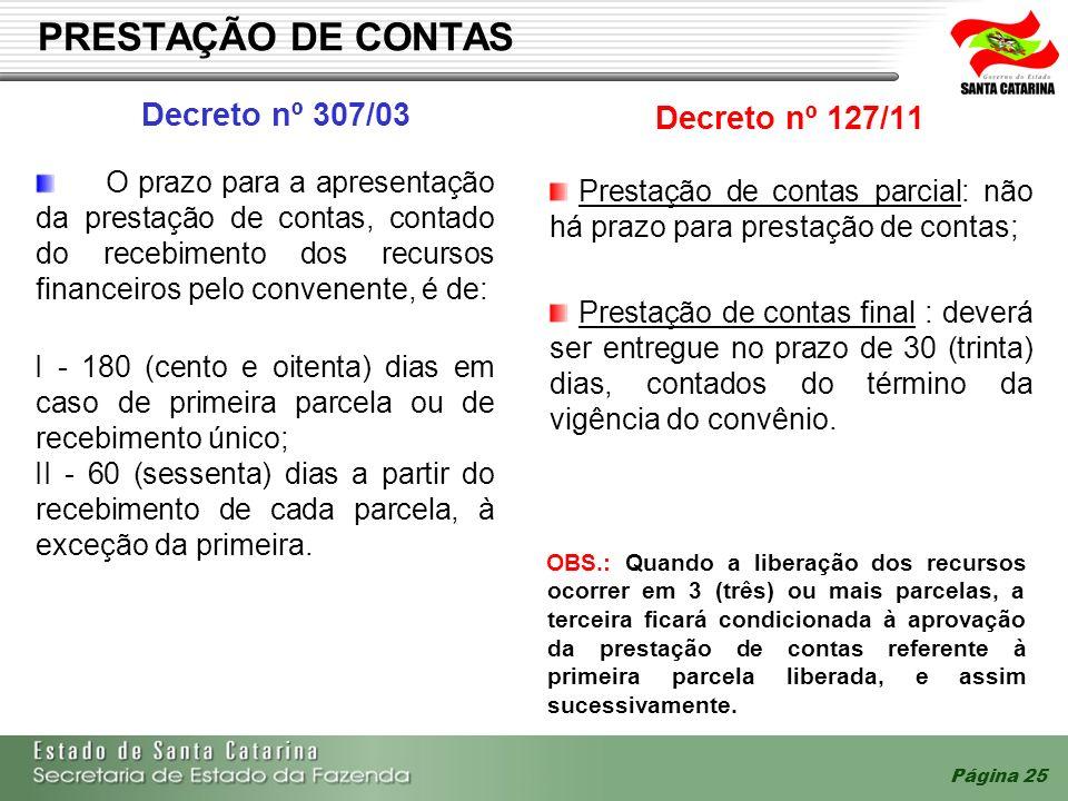 Página 25 PRESTAÇÃO DE CONTAS Decreto nº 307/03 Decreto nº 127/11 O prazo para a apresentação da prestação de contas, contado do recebimento dos recur
