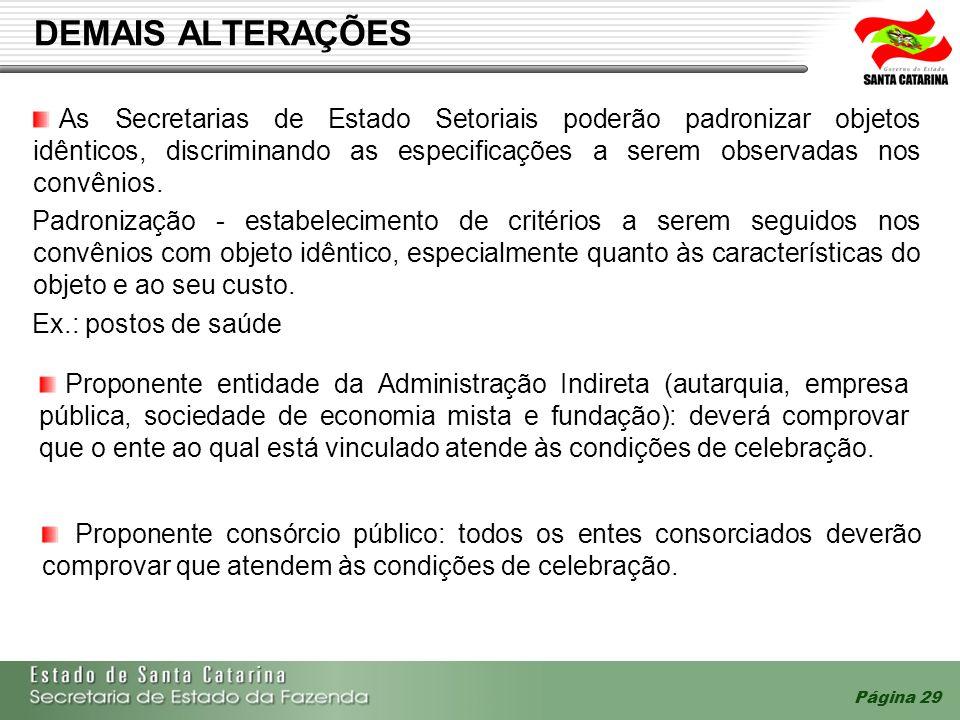 Página 29 DEMAIS ALTERAÇÕES As Secretarias de Estado Setoriais poderão padronizar objetos idênticos, discriminando as especificações a serem observada