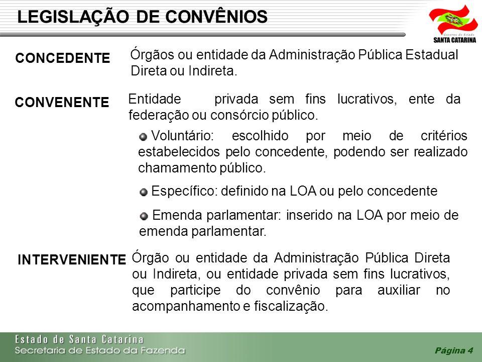 Página 4 LEGISLAÇÃO DE CONVÊNIOS INTERVENIENTE Específico: definido na LOA ou pelo concedente Emenda parlamentar: inserido na LOA por meio de emenda p
