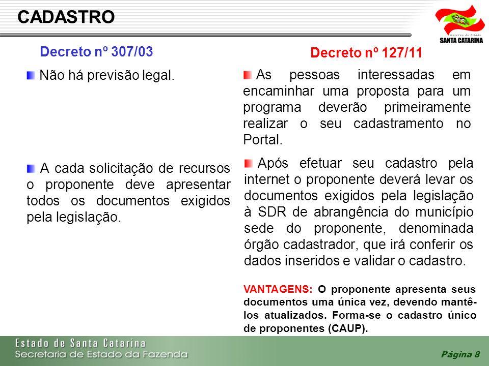 Página 8 CADASTRO A cada solicitação de recursos o proponente deve apresentar todos os documentos exigidos pela legislação. Após efetuar seu cadastro