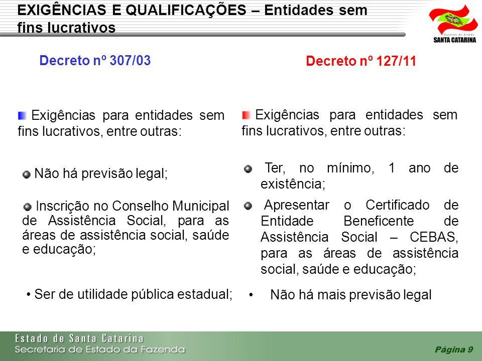 Página 9 EXIGÊNCIAS E QUALIFICAÇÕES – Entidades sem fins lucrativos Exigências para entidades sem fins lucrativos, entre outras: Decreto nº 307/03 Dec