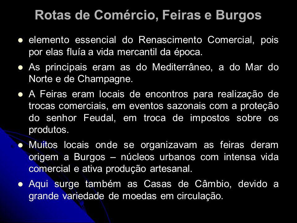 Rotas de Comércio, Feiras e Burgos elemento essencial do Renascimento Comercial, pois por elas fluía a vida mercantil da época. As principais eram as