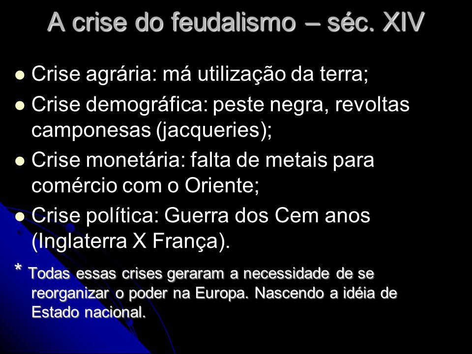 A crise do feudalismo – séc. XIV Crise agrária: má utilização da terra; Crise demográfica: peste negra, revoltas camponesas (jacqueries); Crise monetá