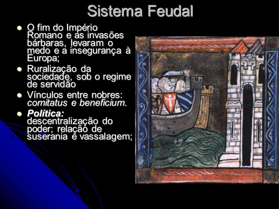 Sistema Feudal O fim do Império Romano e as invasões bárbaras, levaram o medo e a insegurança à Europa; O fim do Império Romano e as invasões bárbaras