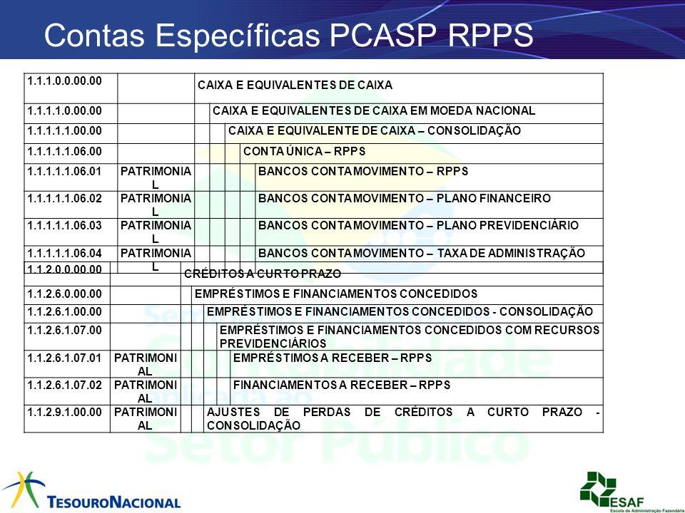Contas Específicas PCASP RPPS 1.1.1.0.0.00.00 CAIXA E EQUIVALENTES DE CAIXA 1.1.1.1.0.00.00 CAIXA E EQUIVALENTES DE CAIXA EM MOEDA NACIONAL 1.1.1.1.1.