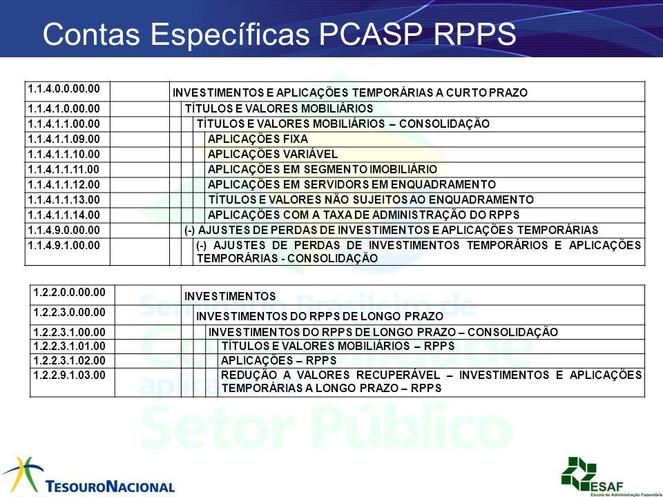 Contas Específicas PCASP RPPS 1.1.4.0.0.00.00 INVESTIMENTOS E APLICAÇÕES TEMPORÁRIAS A CURTO PRAZO 1.1.4.1.0.00.00 TÍTULOS E VALORES MOBILIÁRIOS 1.1.4