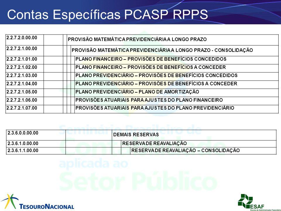 Contas Específicas PCASP RPPS 2.2.7.2.0.00.00 PROVISÃO MATEMÁTICA PREVIDENCIÁRIA A LONGO PRAZO 2.2.7.2.1.00.00 PROVISÃO MATEMÁTICA PREVIDENCIÁRIA A LO