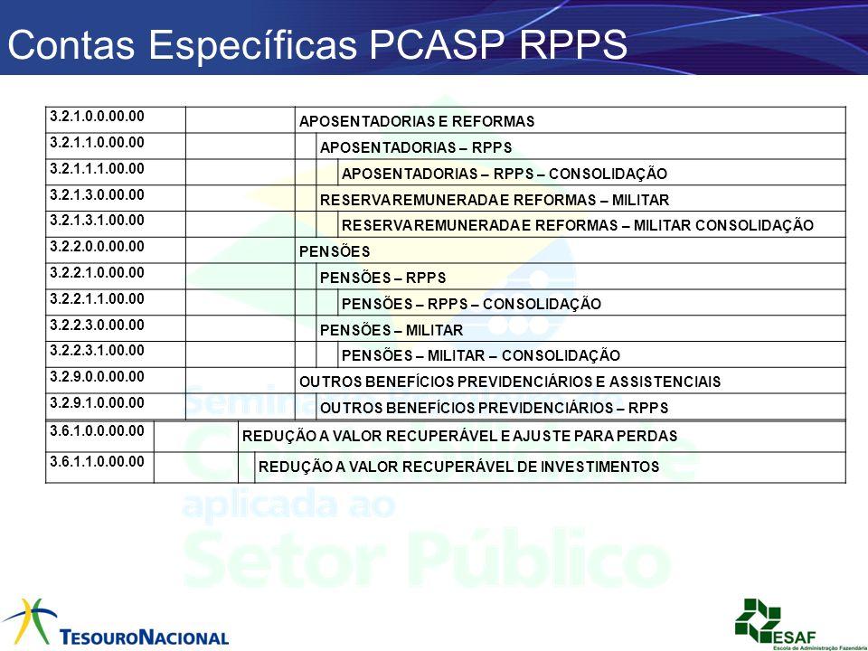 Contas Específicas PCASP RPPS 3.2.1.0.0.00.00 APOSENTADORIAS E REFORMAS 3.2.1.1.0.00.00 APOSENTADORIAS – RPPS 3.2.1.1.1.00.00 APOSENTADORIAS – RPPS –